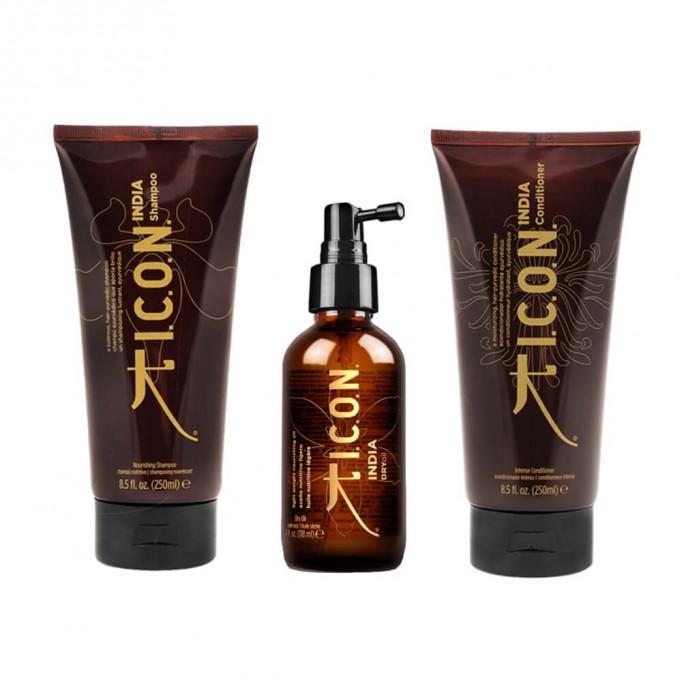 Pack ICON COFRE India TRIO: Dry Oil + Champú + Acondicionador