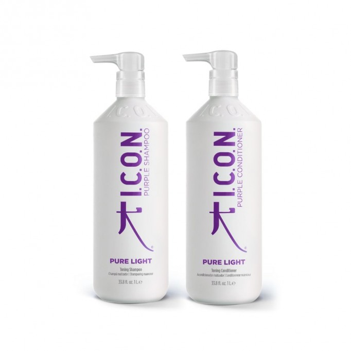 PACK ICON PURE LIGHT CHAMPÚ Y ACONDICIONADOR MATIZADOR AZUL LILA PURPURA IDEAL PARA MATIZAR PELO RUBIO Y CLARO