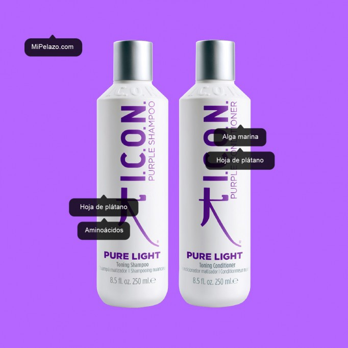 ICON Champú Azul Matizador Púrpura lila y acondicionador para pelo rubio Mipelazo